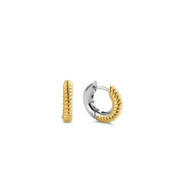 Ti Sento gold twisted hoop earrings